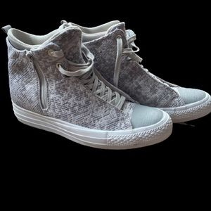 Converse Grey and white hidden wedge sneaker.